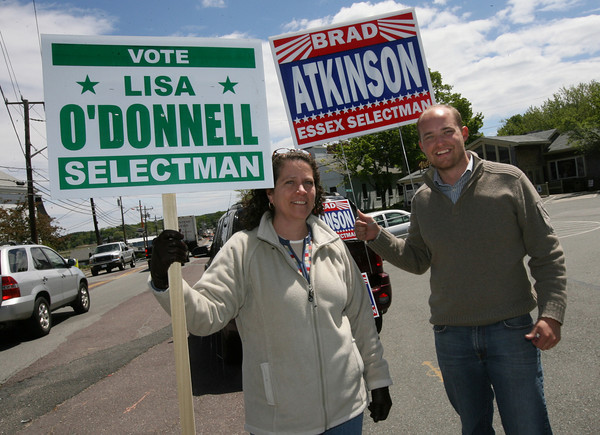 Essex: Lisa O'Donnell and Brad Atkinson, candidates for an open seat on the Essex Board of Selectmen, were out seeking voters' support yesterday afternoon. Photo by Kate Glass/Gloucester Daily Times