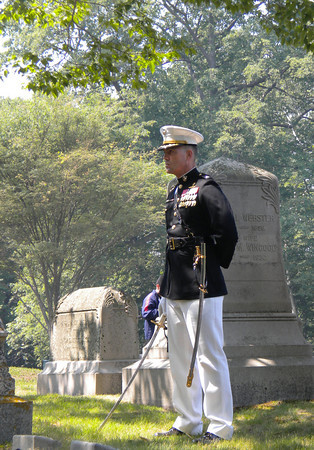 Rockport: U.S. Marine Corps Lt. Col. Phillip Zeman shouts the orders for the gun salute during Rockport's Memorial Day ceremony at Beech Grove Cemetery yesterday. Photo by Gail McCarthy/Gloucester Daily Times