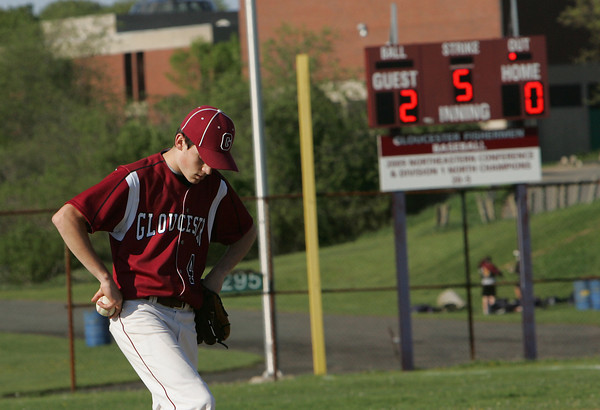 Gloucester: Gloucester pitcher MacKenzie Quinn looks dejected after Peabody scores their second run during the baseball game at Nate Ross Field Wednesday afternoon. Peabody defeated Gloucester 2-1. Mary Muckenhoupt/Gloucester Daily Times