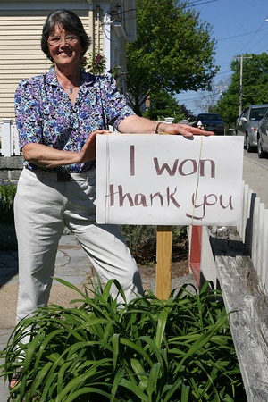 Rockport: Frances Fleming, who won the write-in campaign for the open seat on Rockport's Board of Selectmen, let all her neighbors know the results with this sign, thanking them for their support. Photo by Kate Glass/Gloucester Daily Times