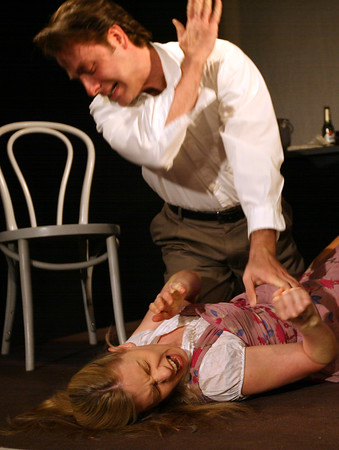 Gloucester: Angelo Athanasopoulos and Lillemor Spitzer rehearse scenes from  Julie by August Strindberg, one of three short plays which will be performed at Blackburn Performing Arts Friday and Saturday at 7:30 and Sunday at 3:00. Tickets are $20. Photo by Kate Glass/Gloucester Daily Times