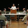 Essex: Selectman candidate Lisa O'Donnell speaks about the problems faceing Essex at a candidate debate with oponent Brad Atkinson at Essex Elementary School Wednesday night. Mary Muckenhoupt/Gloucester Daily Times
