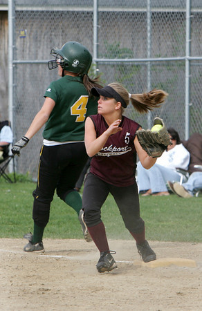 Rockport: Rockport second baseman Katlin Keough runs in to tag North Reading's Mary Batalis out at first base after Batalis bunted the ball during the softball game at Rockport High School Friday afternoon. Mary Muckenhoupt/Gloucester Daily Times