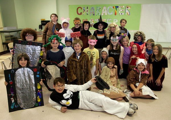"""Rockport: Students in Sara Corcoran's forth and fifth grade class pose for a photo after they performed """"Character Matters"""" at Rockport Elementary School Thursday afternoon. The musical teaches about the importance of character building qualities like responsibility, honesty and forgiveness. the play will also be performed today for the school at 2 p.m. Mary Muckenhoupt/Gloucester Daily Times"""