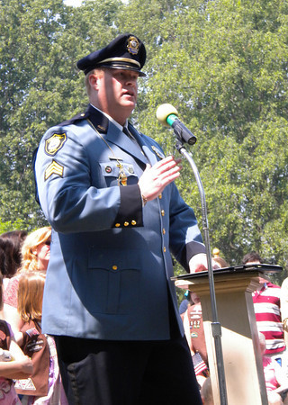 Rockport: Rockport Police Sgt. Mark Schmink speaks at the Rockport Memorial Day ceremony yesterday morning. Photo by Gail McCarthy/Gloucester Daily Times