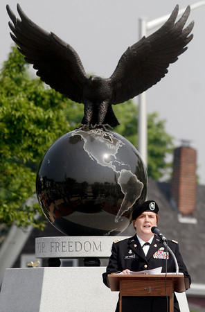 Gloucester: Lt. Col. Kathryn Van Auken, who has served in both Iraq and Afghanistan, speaks to those gathered at Kent Circle for Gloucester's Memorial Day Ceremony yesterday morning. Photo by Kate Glass/Gloucester Daily Times