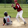 Gloucester: Gloucester's MacKenzie Quinn tries to turn two as he gets Salem's Jenssy Trancoso out at second base at Nate Ross Field yesterday afternoon. Photo by Kate Glass/Gloucester Daily Times