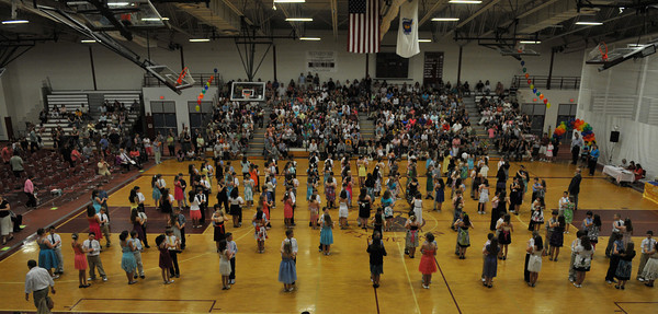 Gloucester:  All the student dancers line up to dance the Merengue and Cha- Cha in front of a large crowd at the Mad Hot Ball held at the GHS on Sunday afternoon. Desi Smith Photo/Gloucester Daily Times. May 2,2010.