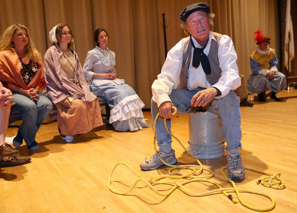 """Gloucester: Gordon Baird recites a monologue from """"The Beauport Anthologies,"""" a dramatization of coloful Gloucester historical personalities, which will be performed at the Universalist Church on Middle Street on June 4 at 8 p.m. Photo by Kate Glass/Gloucester Daily Times"""