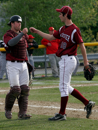 Gloucester: Gloucester catcher Brett Cahill greets pitcher Sean Hull as they get the third out of the third inning during their game against Salem at Nate Ross Field yesterday afternoon. Photo by Kate Glass/Gloucester Daily Times