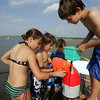 Essex: From left, Jasmin Appeltofft, 11, Tommy Tofuri, 11, Jack Alger, 6, and Logan Carroll, 9, all of Essex collect crabs at Conomo Point to escape the heat Wednesday afternoon. Mary Muckenhoupt/Gloucester Daily Times