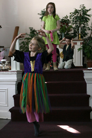 "Rockport: Cara Buchanan dances as Rhiannon Hurst sings a solo during a rehearsal for Art Harbor of Cape Ann's production of ""Hansel and Gretel,"" which will be performed Thursday, May 20th at 5pm at the Unitarian Universalist Society of Rockport. Photo by Kate Glass/Gloucester Daily Times"