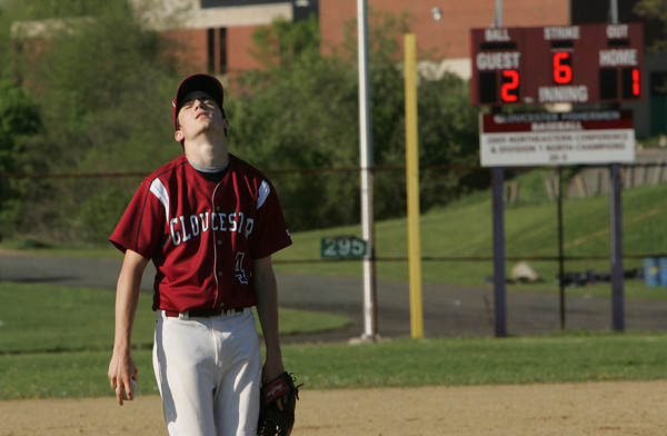 Gloucester: Gloucester pitcher MacKenzie Quinn looks dejected after a Peabody batter reached first base after the third strike went to the backstop during the sixth inning of the baseball game at Nate Ross Field Wednesday afternoon. Peabody defeated Gloucester 2-1. Mary Muckenhoupt/Gloucester Daily Times