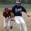 Gloucester: Gloucester third baseman Jimmy Nicolosi gets Danvers' Scott Hovey out by tagging him with the ball in the third inning of the baseball game at Nate Ross Field Wednesday night. Mary Muckenhoupt/Gloucester Daily Times