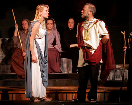 """Rockport: Heidi Pulkkinen as Helen argues with Martin Ray as Menelaus as they rehearse a scene from Theater in the Pines production of """"The Trojan Women"""" written by Euripides. The performances are May 13-16 at 7:30 p.m. at Spiran Hallin Rocport. Photo by Kate Glass/Gloucester Daily Times"""
