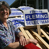 Rockport: Frances Fleming, who won the write-in campaign for the open seat on Rockport's Board of Selectmen, stands near all the signs she and her supporters collected yesterday following the election. Photo by Kate Glass/Gloucester Daily Times