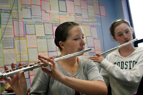 Rockport:  Rockport senior Kristy Levick and sophomore Sarah Kieley rehearse for their orchestra concert at Rockport High School Wednesday afternoon. The concert will be held tonight at the First Baptist Church at 7:30 p.m.. Mary Muckenhoupt/Gloucester Daily Times