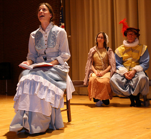 """Gloucester: Talia Brown, Nora Messier, and David Adams rehearse a scene from """"The Beauport Anthologies,"""" a dramatization of coloful Gloucester historical personalities, which will be performed at the Universalist Church on Middle Street on June 4 at 8 p.m. Photo by Kate Glass/Gloucester Daily Times"""