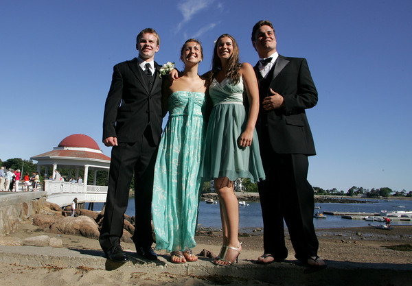 Manchester: From left, Manchester Essex seniors, Alex Carr, Amelia Cohen, Katie Gavin and Jack Bishop pose for a photo at Tucks Point before heading to prom at the Hellenic Community Center in Ipswich Friday evening. Mary Muckenhoupt/Gloucester Daily Times