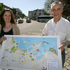 Mary Faino, owner of The Paper Mermaid, and Michael Kaplan, owner of Tuscan Designs, created a tourist map of downtown Rockport, which they hope to display in Dock Square. It has already been approved by the board of selectmen and is waiting to be cleared by the historical commission. Photo by Kate Glass/Gloucester Daily Times