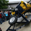 Rockport: Rockport High School students watch as a dummy flies out of a vehicle during a rollover demonstration by the Massachusetts State Police yesterday. The simulation is to remind the students to be safe and use their seatbelts, especially around prom, which is Friday. Photo by Kate Glass/Gloucester Daily Times