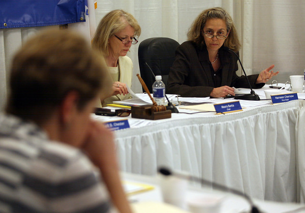 Harneen Chernow, Vice Chair of the Board of Elementary and Secondary Education, brought up a motion to revoke the Gloucester Community Arts School's charter, though the motion was voted down during their meeting in Malden yesterday. Photo by Kate Glass/Gloucester Daily Times