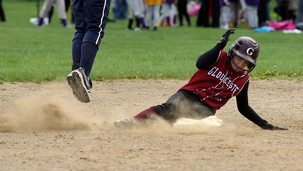 Gloucester's Kelly Benson slides safely into second base as the Fishermen play Swampscott at Burnham Field yesterday. Photo by Kate Glass/Gloucester Daily Times