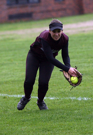 Rockport's Haley Lorden catches a fly ball during their game against Newburyport yesterday. Photo by Kate Glass/Gloucester Daily Times