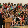 "Manchester: Former Boston Mayor and United States Ambassador Ray Flynn speaks to students at Manchester Essex Regional Middle and High School during a Memorial Day assembly yesterday morning. Flynn urged the students keep the true meaning of Memorial Day in mind saying, ""You do something for yourself all year long. This is the one day you do something for your country and veterans."" Photo by Kate Glass/Gloucester Daily Times"