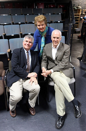 Andrew Burgreen, General Manager of Gloucester Stage Company, Bea Waring, Chairman of the Gloucester Stage Company Board of Directors, and Alan Joslin of Epstein Joslin Architects, sit inside the theater, which will undergo a major renovation. The theater has hired Epstein Joslin Architects to do a major renovation of the space, hoping to keep it open year-round. Photo by Kate Glass/Gloucester Daily Times