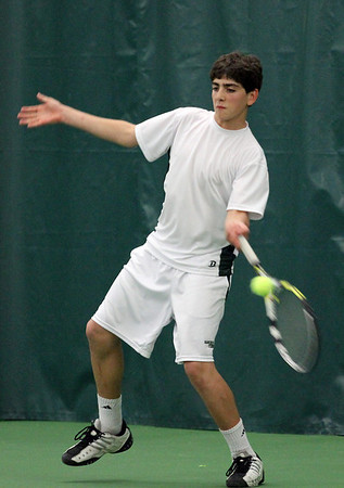Manchester: Manchester Essex's Mike Fuca plays Pentucket's Ryan Swanson during their match at the Manchester Athletic Club yesterday. Photo by Kate Glass/Gloucester Daily Times