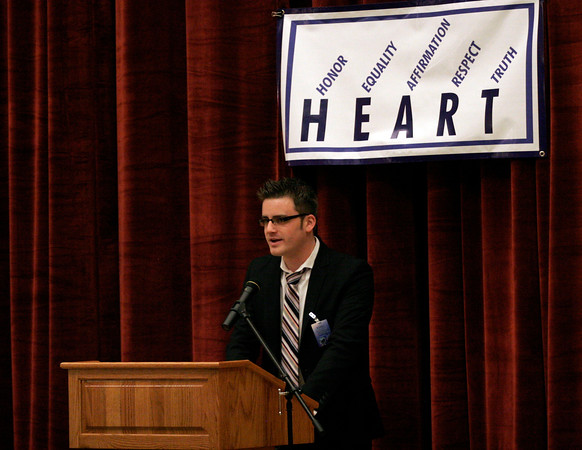 Greg Kimball, who graduated from Manchester Essex Regional High School, speaks about the organization HEART, which stands for Honor, Equality, Affirmation, Respect, Truth, before Boston sports writer Steve Buckley spoke to the students about coming out as a gay man. Photo by Kate Glass/Gloucester Daily Times