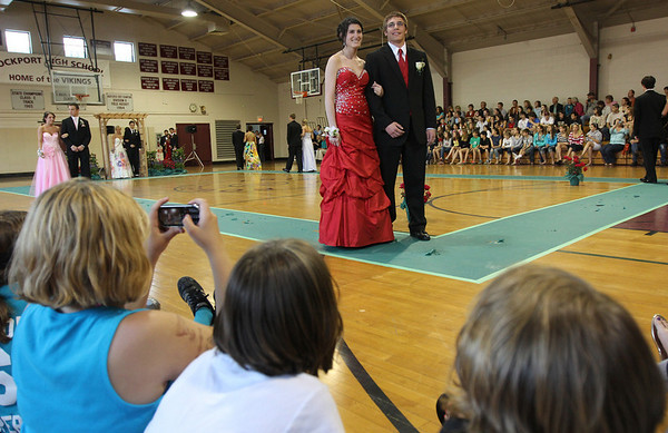 Rockport: Loren Grier and Keady Segel pose for pictures during the Rockport High School Promenade last night where the seniors showed off their outfits for family and friends before heading to prom. The prom was held at Endicott College's Tuppor Manor. Photo by Kate Glass/Gloucester Daily Times