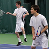 Manchester: Manchester Essex's Matt Melamed returns a serve while playing a doubles match with Ben Scarfoni against Pentucket at the Manchester Athletic Club yesterday. Photo by Kate Glass/Gloucester Daily Times
