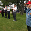 "Roger Sirois, 90, salutes as ""Taps"" is performed by members of the Gloucester City Wide School Band during Gloucester's Memorial Day ceremony yesterday morning. Photo by Kate Glass/Gloucester Daily Times"