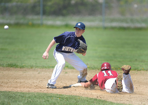 Gloucester:  Gloucester's Kyle Lucido dive into 2nd base beating the throw to winthrop's Nick McCarthy,Saturday afternoon at Nate Ross Field  Desi Smith/Gloucester Daily Times.
