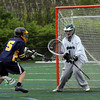 Manchester: Manchester Essex goalie Reed Parkhurst blocks a shot at Coach Ed Field Field yesterday. Photo by Kate Glass/Gloucester Daily Times