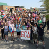Gloucester: Students and faculty at the Gloucester Community Arts Charter School cheer outside the school as they look forward to next school year. Photo by Kate Glass/Gloucester Daily Times