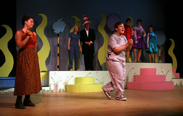 "Rockport: Emma Ouellette and Ben Tuck rehearse a scene from Rockport High School's production of ""Seussical,"" which is based on the stories of Dr. Seuss. Photo by Kate Glass/Gloucester Daily Times"