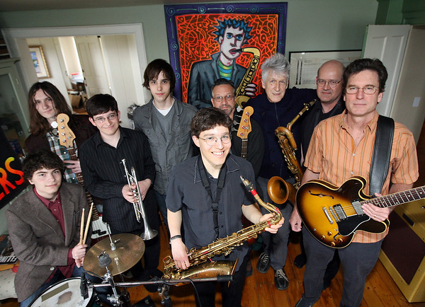"Alek Razdan, center, a senior at Rockport High School, will be the focus of a special concert at the Shalin Liu Performance Center on May 17th. He will be performing with Alex Caffi, Erik Lees, Evan Razdan, Robin Lovell, Ken DeMaine, Willie ""Loco"" Alexander, Rikki Razdan, Dan Whalen and (not shown) David ""Doc"" Vincent, and John Hyde. Photo by Kate Glass/Gloucester Daily Times"