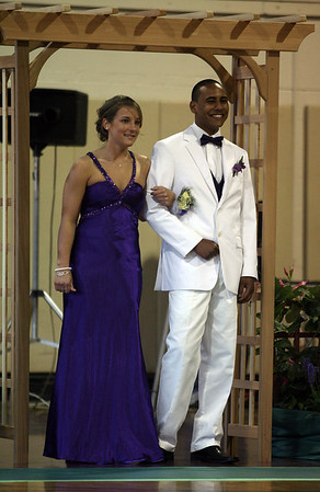 Rockport: Emma Littlefield and Jose Gutierrez are the first couple to walk the carpet during the Rockport High School Promenade last night. The prom was held at Endicott College's Tuppor Manor. Photo by Kate Glass/Gloucester Daily Times