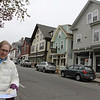 Barbara Sparks, Chair of the Rockport Planning Board, stands on Main Street with a map of the proposed Master Plan, which extends the business district. Photo by Kate Glass/Gloucester Daily Times