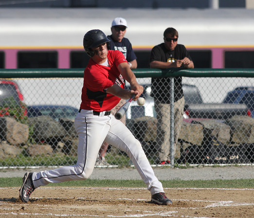 Rockport: North Andover's Brandon Walsh connects for a triple during the Cape Ann League All-Star Game at Evans Field yesterday. Photo by Kate Glass/Gloucester Daily Times