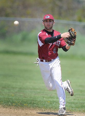 Gloucester:  Gloucester's Joey Avila feilds a ground ball and throws to 1st against, Winthrop, Saturday afternoon at Nate Ross Field  Desi Smith/Gloucester Daily Times.
