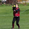 Gloucester left fielder Meghan Keenan catches a pop-up during their game against Swampscott yesterday afternoon. Photo by Kate Glass/Gloucester Daily Times