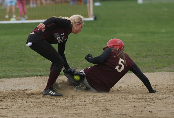 Rockport's Kelsey Keough tags Newburyport's Maddie Stanton out at second base during their game yesterday. Photo by Kate Glass/Gloucester Daily Times
