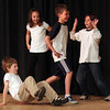 Rockport: Nathan McWilliams, Ariana Bouchie, Andrew Guelli, and Nicolas Costa perform a grid dance using a variety of movements they learned through the Weber Dance Program during a recital at Rockport Elementary School yesterday. The program was funded through the Education Foundation of Rockport. Photo by Kate Glass/Gloucester Daily Times