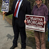 Jonathan Ring and Martha Morgan, both candidates for Rockport School Committee, campaign outside Rockport Elementary School yesterday afternoon as voters flocked to the polls to cast their vote in the town's election. Photo by Kate Glass/Gloucester Daily Times