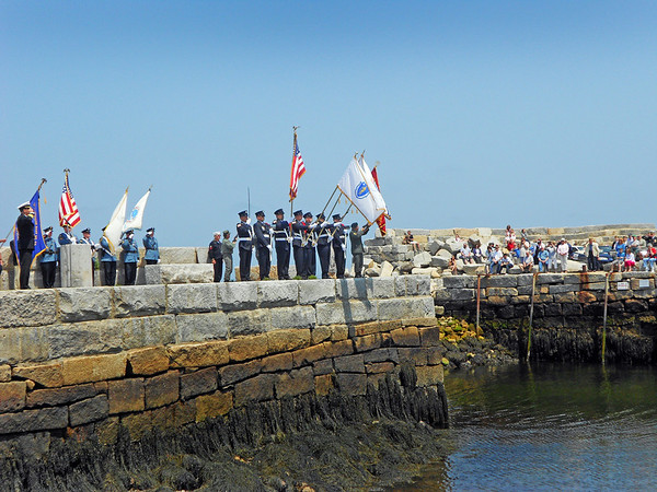 Gail McCarthy/Gloucester Daily Times May 28, 2012 ROCKPORT— The Memorial Day services in Rockport conclude with a ceremony at Lumber Wharf.