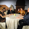 """Gloucester:Evie Gariepy as Dierdre McDavey,  Beebe Nelson as Lillian Troy Beth Bevins as Felicia Dantine , and David McCaleb as Andrew Rally in The Cape Ann Shakespeare Troupe production of """"I Hate Hamlet"""". preformances are May 25, 26, June 1, 2 at 7:30 PM and May 27 and June 3 at 3 PM at The Cape Ann (The Annie). Jim Vaiknoras/staff photo"""